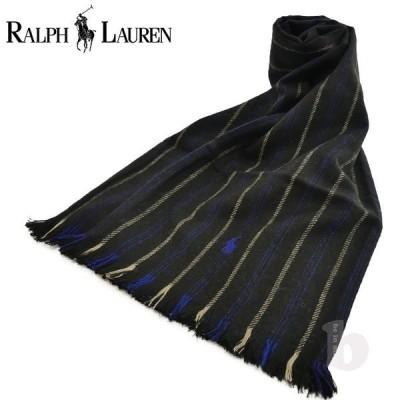 ラルフローレン マフラー ブラック ブルー ストライプ ドット リバーシブル 6F0535 POLO RALPH LAUREN スカーフ メンズ レディース プレゼント クリスマス