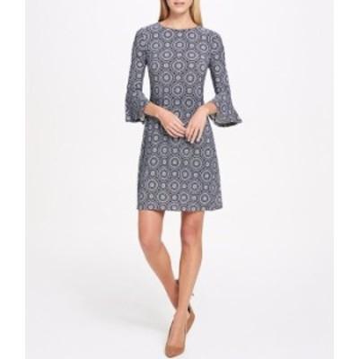 トミー ヒルフィガー レディース ワンピース トップス Mini Daisy Medallion Print Bell Sleeve Jersey A-Line Dress Sky Captain/Ivory