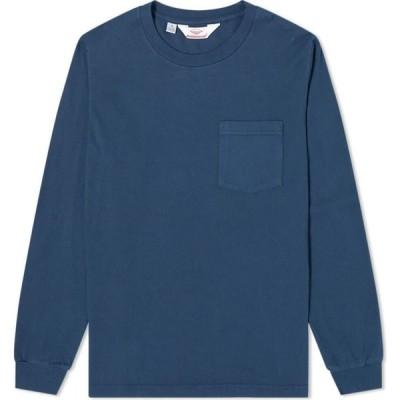 バテンウェア Battenwear メンズ 長袖Tシャツ ポケット トップス long sleeve basic pocket tee Navy