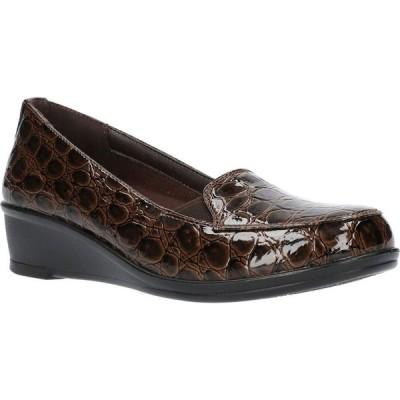 イージーストリート Easy Street レディース シューズ・靴 Velma Comfort Wedges Brown Patent Croco