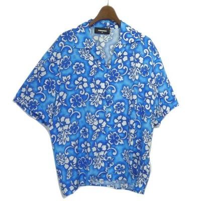 DSQUARED2 2018SS 花柄アロハシャツ ブルー サイズ:46 (名古屋栄店) 210502