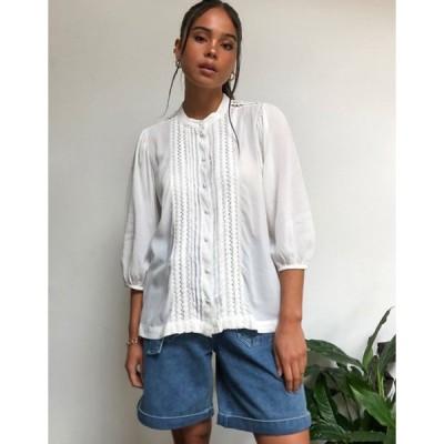 セレクティッド レディース シャツ トップス Selected Femme prairie blouse in white