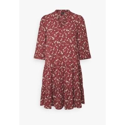 ヴェロモーダ ワンピース レディース トップス VMZIGGA V-NECK SHORT DRESS  - Day dress - burnt russet