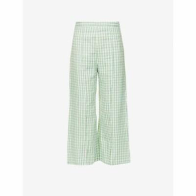 フェイスフルザブランド FAITHFULL THE BRAND レディース ボトムス・パンツ Fasha gingham-print high-rise wide-leg linen trousers Kiv