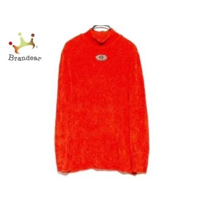 イタリヤ 長袖セーター サイズ7 S レディース オレンジ×ベージュ×カーキ ハイネック 新着 20201006