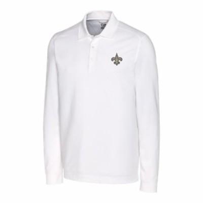 """メンズ ポロシャツ """"New Orleans Saints"""" Cutter & Buck Advantage Long Sleeve Polo - White"""