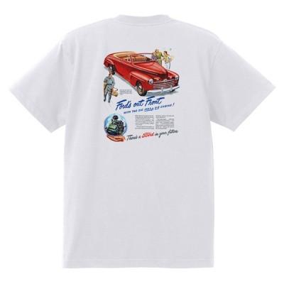 アドバタイジング フォード Tシャツ 白 1093 黒地へ変更可 1946 ホットロッド ローライダー ロカビリー アドバタイズメント レッドスレッド