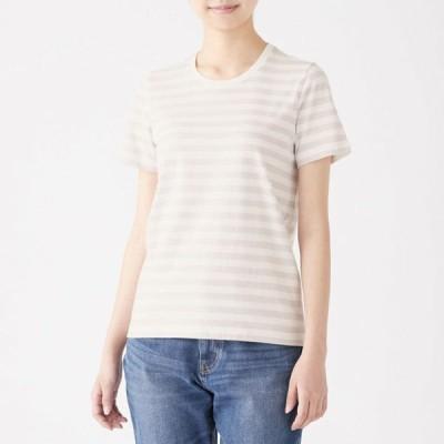 無印良品 インド綿天竺編みクルーネック半袖Tシャツ(ボーダー) 婦人M 白×ライトシルバーグレー(中細) 良品計画