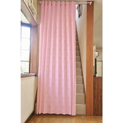 遮熱断熱 間口を仕切って冷暖房効率アップ ロングアコーディオンのれん「バラ柄」 (ピンク)