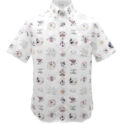 40%OFF 2019春夏 シナコバ キャプテン総柄 半袖ボタンダウンシャツ《オフ白》(M、L、LL) SH*0119124540110