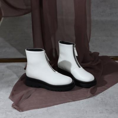セレンセクール Serene ce cool ボリュームソールフロントジップブーツ (ホワイト)