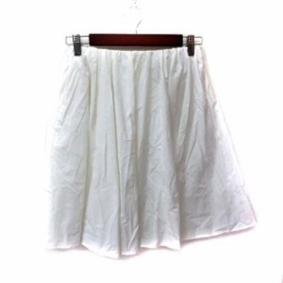 【中古】マカフィー MACPHEE トゥモローランド フレアスカート ギャザー ミニ 34 白 ホワイト /YI レディース