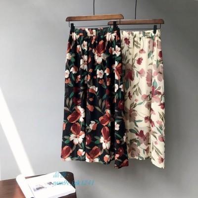 花柄女性 A ラインロングスカートハイウエストベージュ黒マキシスカート グループ上 レディース衣服 から スカート 中