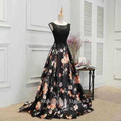 黒イブニングドレスプリント花柄お洒落キレイめロングドレスノースリーブパーティードレス二次会ドレスお呼ばれ20代30代40代