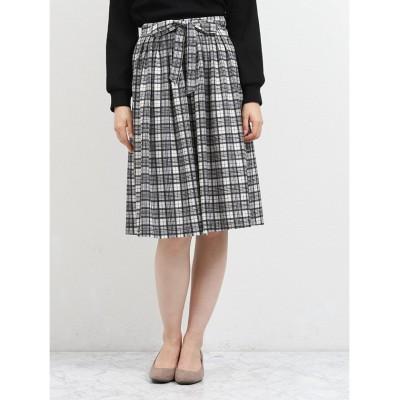 【タカキュー】 細タックフレアースカート チェック レディース ホワイト L TAKA-Q