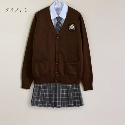 入学式スーツ 制服4点セット 学生服 コスプレ スーツ 卒業式 女子高生制服 コスチューム スクールウエアセット カーディガン ブレザー ミニスカート 白シャツ