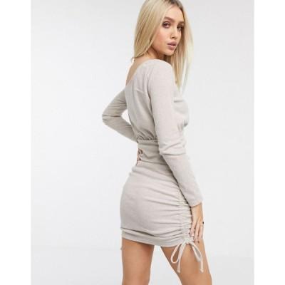 エイソス ミニドレス レディース ASOS DESIGN super soft one shoulder ruched side mini dress in oatmeal エイソス ASOS