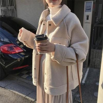 コート レディース ファーコート ショート丈コート 秋冬 フワフワ ジャケット アウター 韓国風 上品 3XL S〜XL