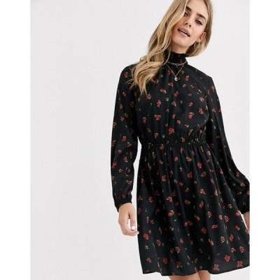 ニュールック レディース ワンピース トップス New Look shirred neck mini dress in rose ditsy floral print