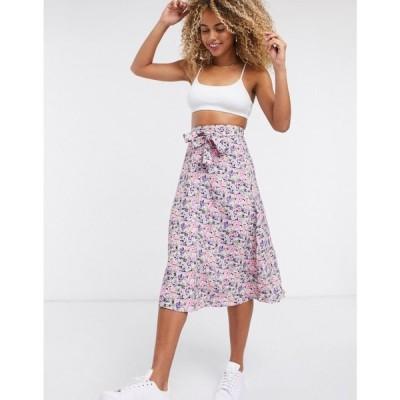 アンドアザーストーリーズ & Other Stories レディース ひざ丈スカート スカート floral print button through midi skirt in multi