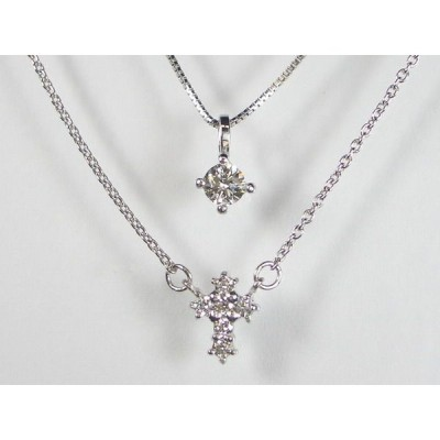 K10WG ホワイトゴールドダイヤモンド クロス ペンダント ネックレス