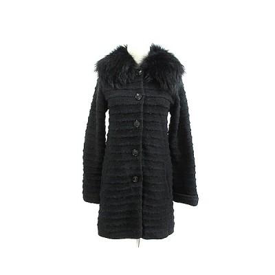 【中古】ロートレアモン LAUTREAMONT コート ステンカラー ツイード ラクーンファー 38 黒 ブラック /AAM19 レディース 【ベクトル 古着】