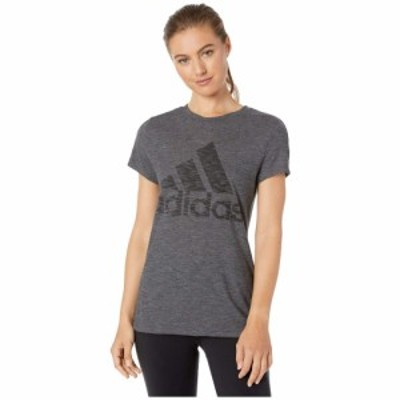 アディダス adidas レディース Tシャツ トップス Winners Short Sleeve Crew Tee Black Melange