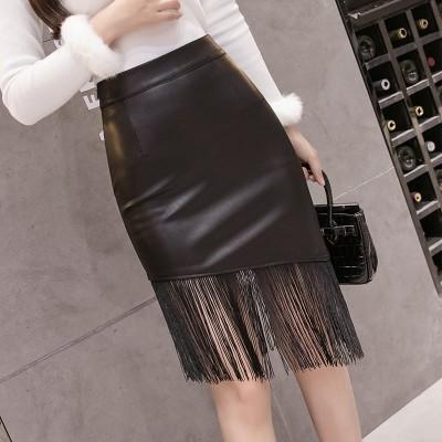(良い品質)2021秋冬の新作の中でロングスカートのPU皮のスカートの淑女はフリンジの半身のスカートの黒色の修身をつづり合わせて明らかにやせていることを現して尻のスカートを包みます