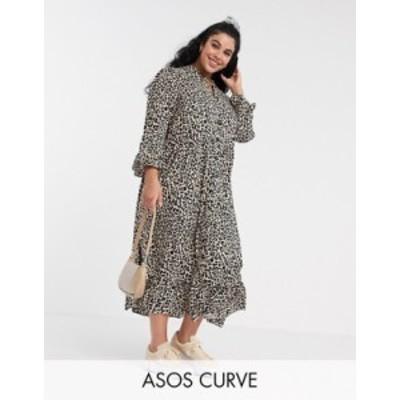 エイソス レディース ワンピース トップス ASOS DESIGN Curve button through tiered smock maxi dress in leopard print Leopard print