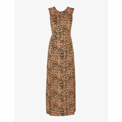 ホイッスルズ WHISTLES レディース ワンピース ミドル丈 ワンピース・ドレス Leopard-print crepe midi dress MULTI-COLOURED