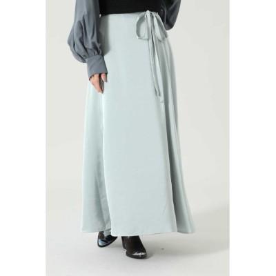 【ローズバッド】 サテンロングスカート レディース ブルー - ROSE BUD