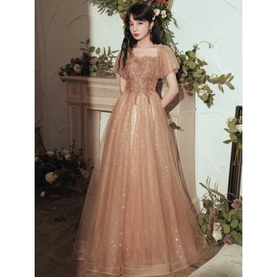 イブニングドレス パーティードレス 安い 可愛い ブライダル ウエディングドレス 結婚式 披露宴 パーティ プリンセス ミディドレス【ミディアム】