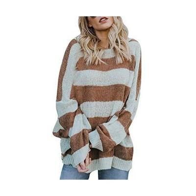 ZEFOTIM Fashion Women Long Sleeve Striped Color Block Knitted O-Neck Loose
