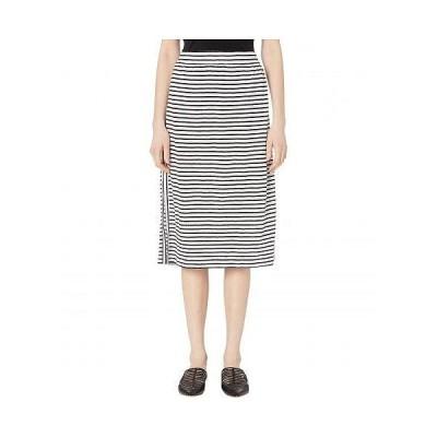 Eileen Fisher アイリーンフィッシャー レディース 女性用 ファッション スカート Organic Linen Jersey Stripe Calf Length Skirt - White/Black