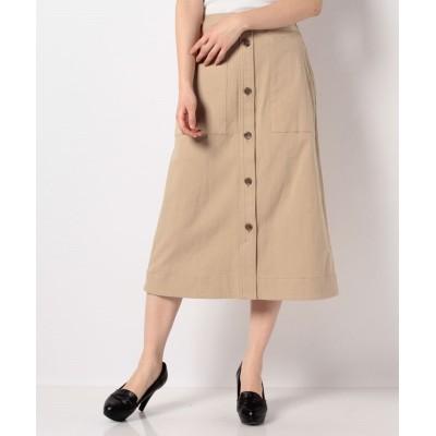 【メルローズ クレール】 ラフコットンストレッチAラインスカート レディース ベージュ 3 MELROSE Claire
