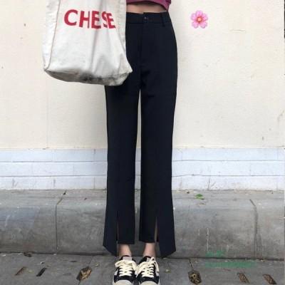 スリット ストリート ダンス オルチャン   スラックス アシメ 韓国 衣装 パンツ ボトムス きれいめ無地 黒