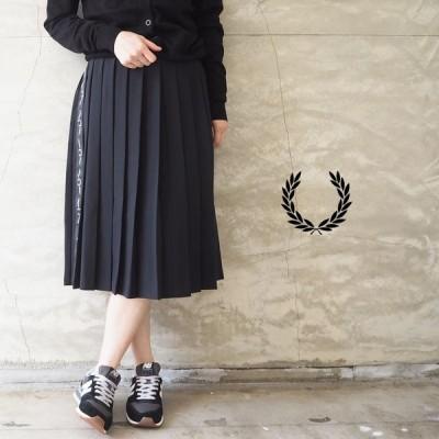 フレッドペリー スカート レディース FRED PERRY TAPED PLEATED SKIRT E8100 プリーツスカート ミディ丈 春 シンプル 上品