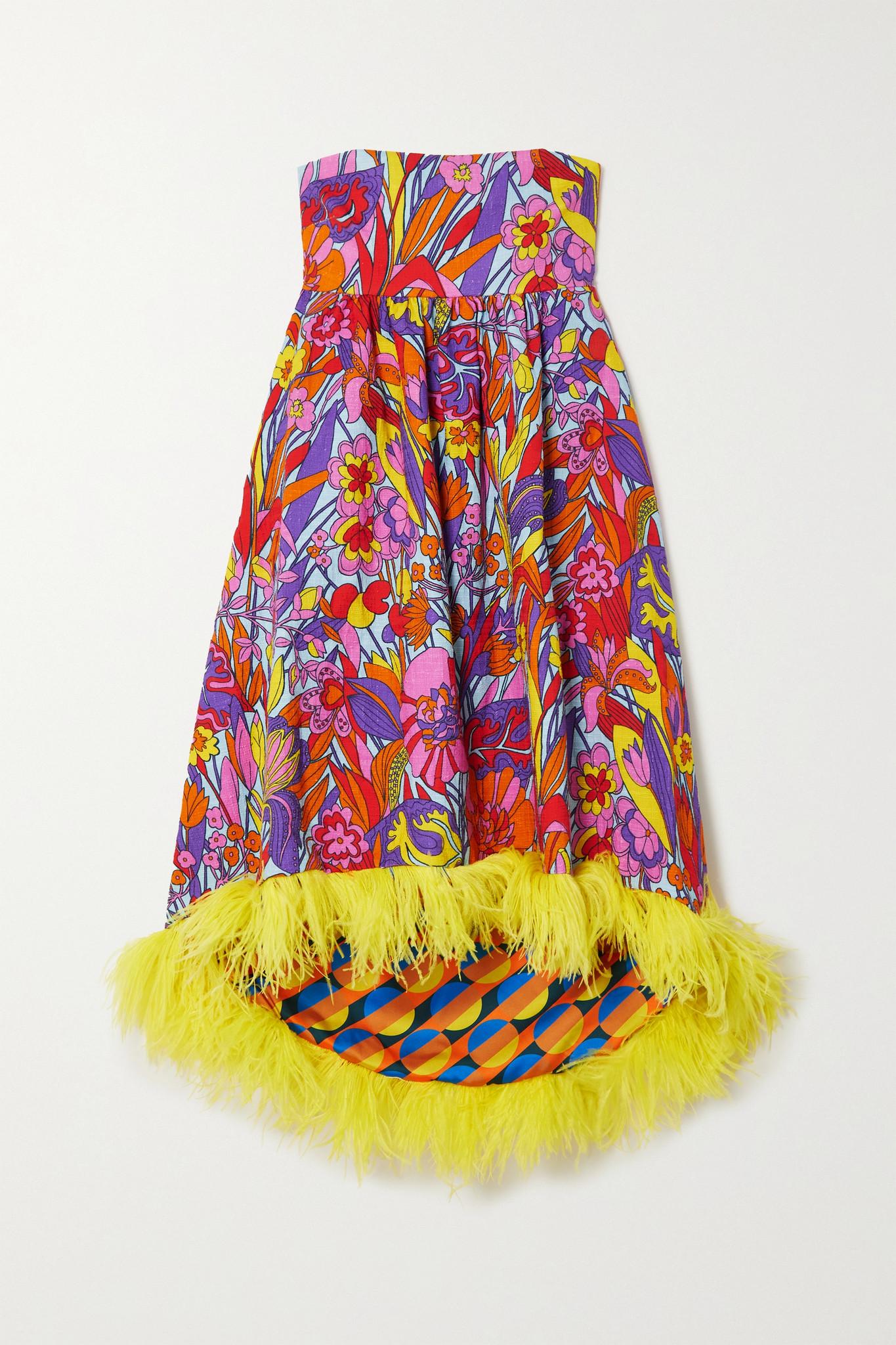 La Double J - La Scala Feather-trimmed Printed Cotton-blend Midi Dress - Pink - x large