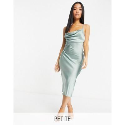 ヴァイオレット ロマンス Violet Romance Petite レディース ワンピース スリップドレス ワンピース・ドレス Satin Slip Dress In Sage Green セージグリーン