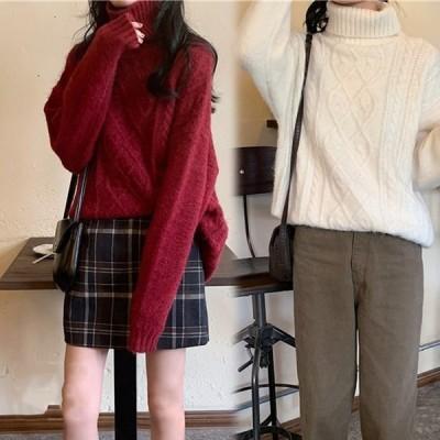 レディース ニット トップス 長袖 セーター  秋冬 ケーブル編み ニット 暖か カシミヤタッチ