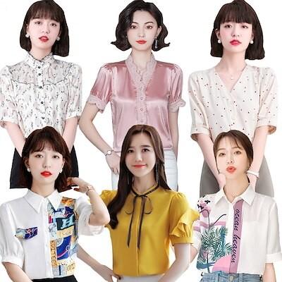 韓国ファッション/夏の新作半袖上着/シフォンブラウス/蝶結び/可愛い通勤OL シャツ/レディース