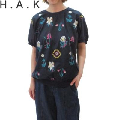 H.A.K(ハク) ローンフラワー刺しゅう+天竺半袖カットソー Tシャツ レディース 半袖 HAK HAKKA ハッカ