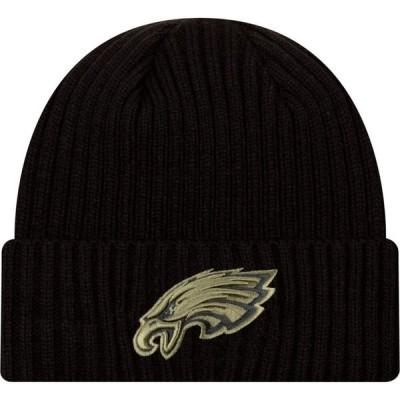 ニューエラ New Era メンズ ニット 帽子 Salute to Service Philadelphia Eagles Black Knit Hat