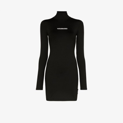 ヴェトモン Vetements レディース パーティードレス ワンピース・ドレス logo print mini dress black