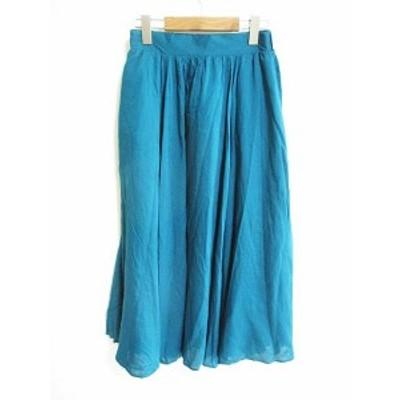 【中古】未使用品 テチチ Te chichi タグ付き ロング スカート ギャザー グリーン 緑 F レディース
