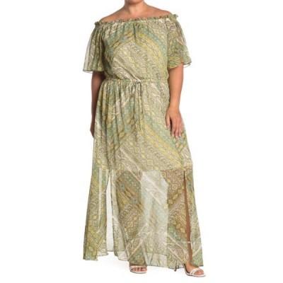 ロンドンタイムス レディース ワンピース トップス Paisley Off the Shoulder Maxi Dress (Plus Size) TEAL