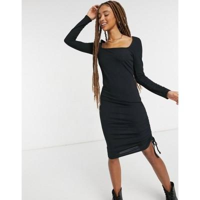 ニュールック レディース ワンピース トップス New Look square neck ruched midi dress in black