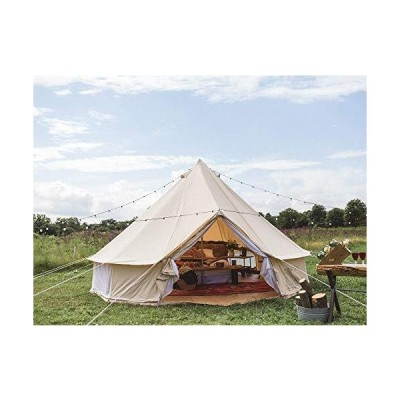 Outdoor Glamping Safari Tent Luxury Cotton Canvas 3M/4M/5M/6M Yurt Bell Tent for Family Camping (Beige Canvas, 4M Bell Tent)平行輸入