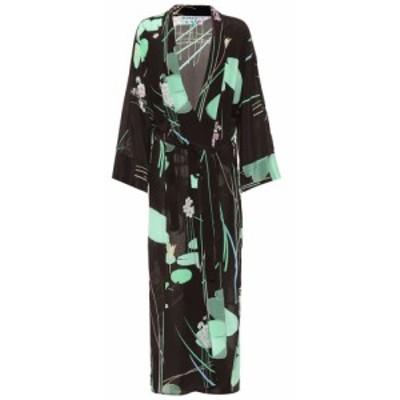 ベルナデッタ Bernadette レディース ワンピース ワンピース・ドレス Peignoir printed silk wrap dress Waterplants Black