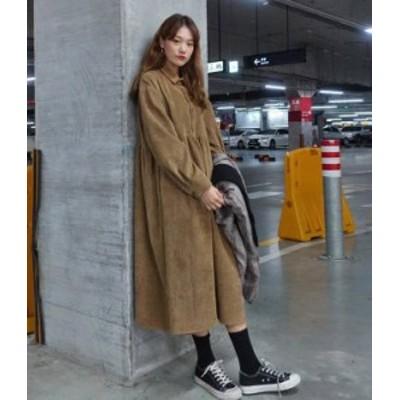 韓国 ファッション レディース ワンピース コーデュロイ ロング ルーズ 大きいサイズ ゆったり 長袖 レトロ カジュアル 大人可愛い 秋冬